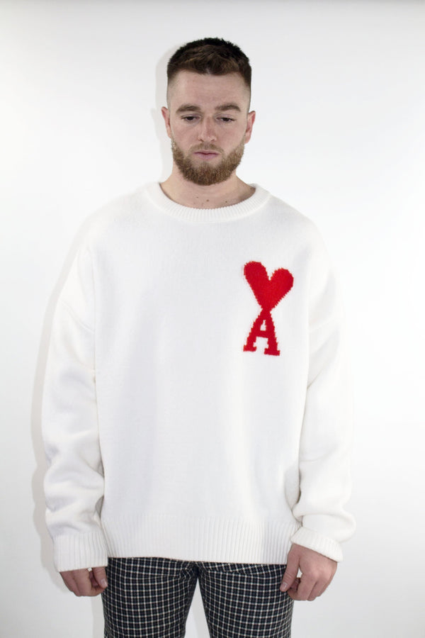 AMI White Oversized Heart Crewneck Sweater
