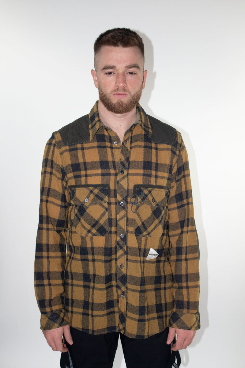 AND WANDER Wool Checkered Shirt (Camel)