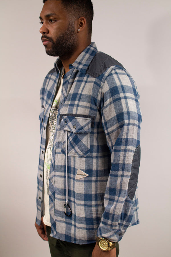 AND WANDER Wool Check Shirt (Blue)