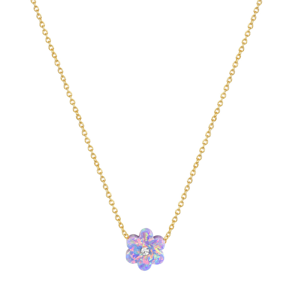 Purple Opal Daisy Necklace