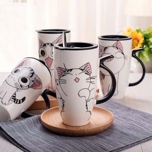 600ml Cute Cat Ceramics Coffee Mug With Lid Large Capacity