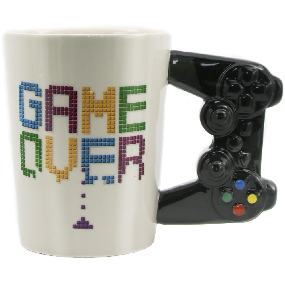 Game Over Coffee Mug 3D Game Controller Handle  Ceramic Cup Mug