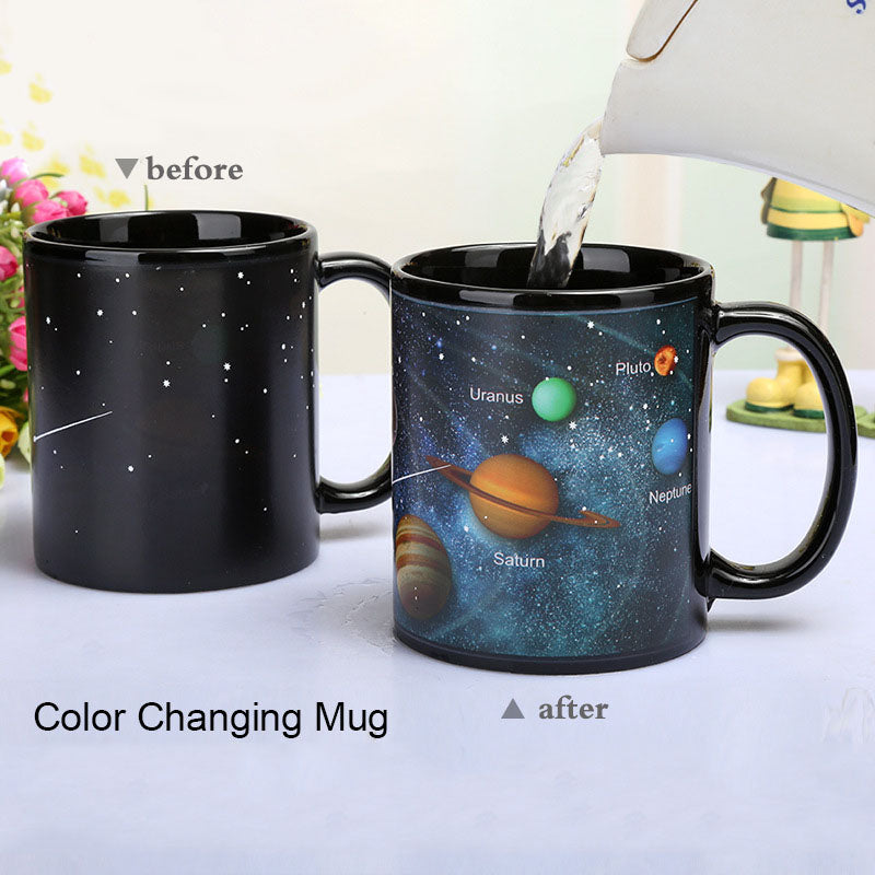 Ceramic Cups Changing Color Mug Milk Coffee Solar System Mugs