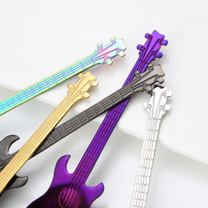 Steel Cartoon Guitar Spoon Creative Milk Coffee Spoon Ice Cream Candy Teaspoon