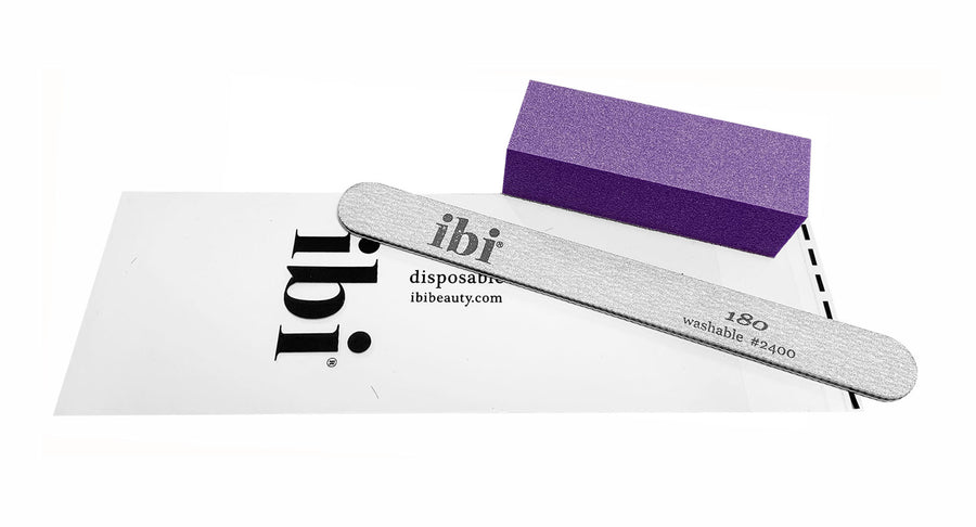 Disposable zebra cushion file & purple sanding block set