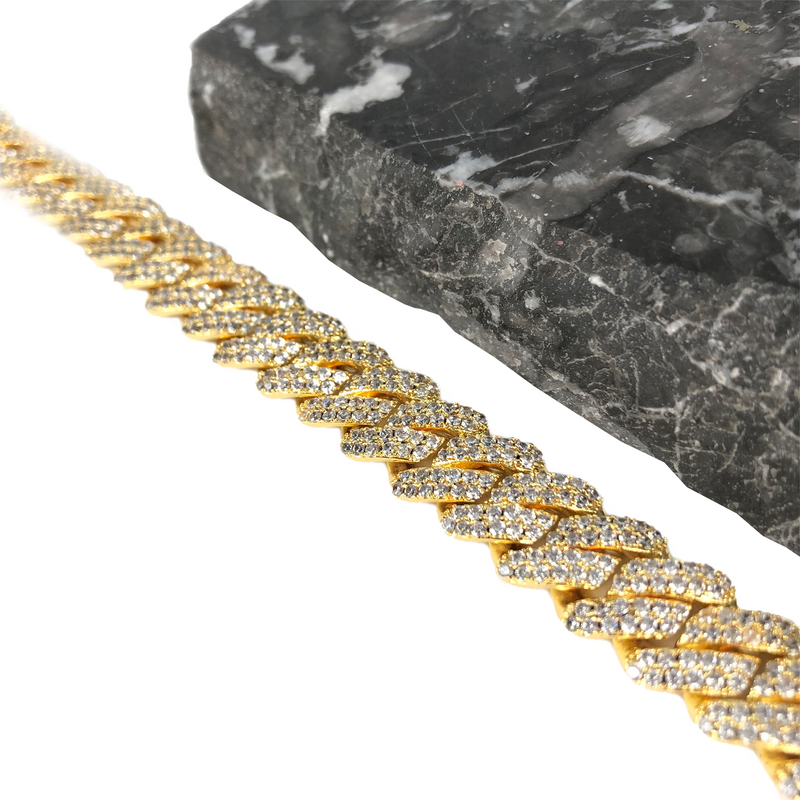 12MM PRONG CUBAN LINK CHAIN [WHITE | YELLOW] GOLD - ICED DRIP JEWELRY