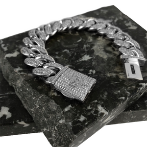 ICED OUT 20MM MIAMI CUBAN LINK BRACELET WHITE GOLD - ICED DRIP JEWELRY - jetzt kaufen!