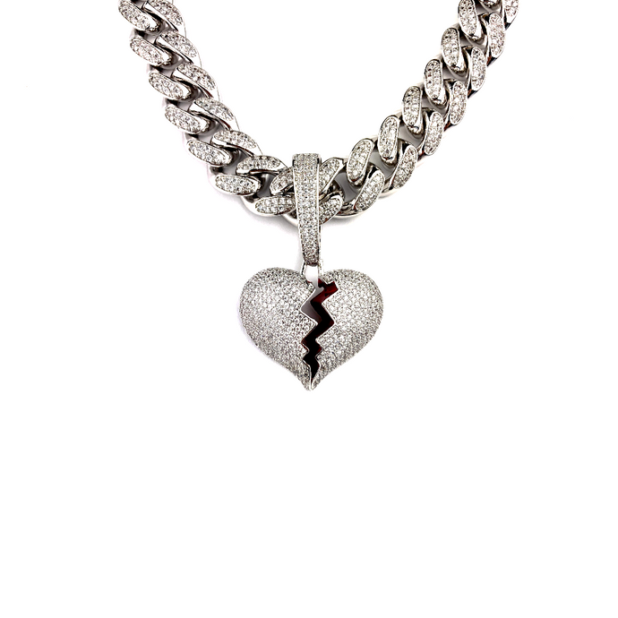 19MM ICED OUT BROKEN HEART PENDANT WHITE GOLD