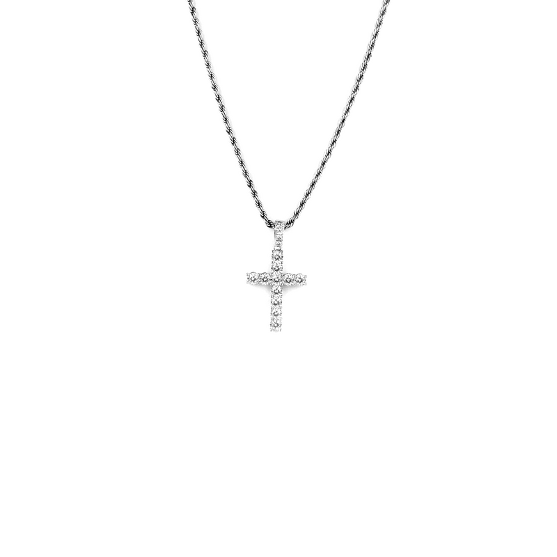 ICED DRIP FLEX CROSS PENDANT [WHITE] - ICED DRIP JEWELRY