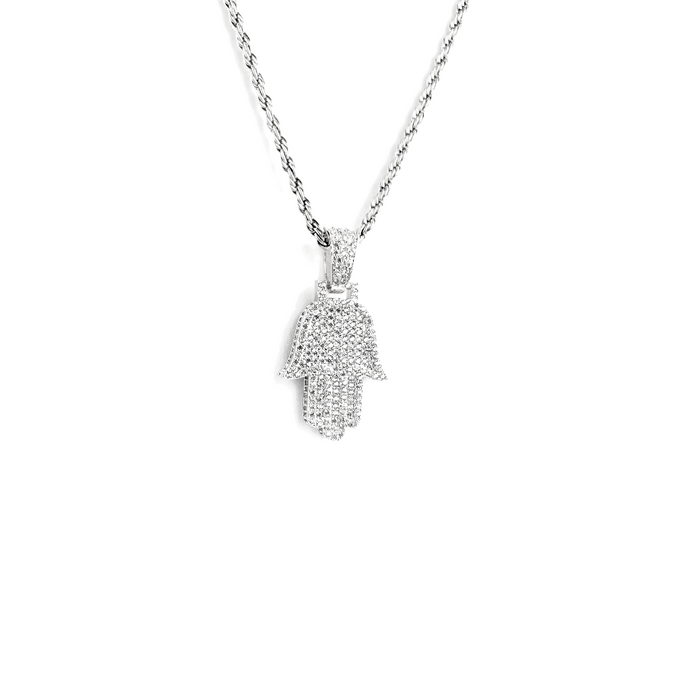 NEW ICED OUT HAMSA WHITE GOLD MIT ROPE CHAIN - ICED DRIP JEWELRY - jetzt kaufen!