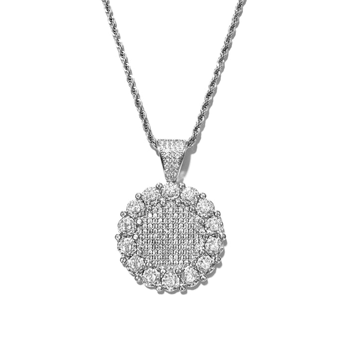 ICED OUT MEDAILLON PENDANT WHITE GOLD MIT ROPE CHAIN - ICED DRIP JEWELRY - jetzt kaufen!
