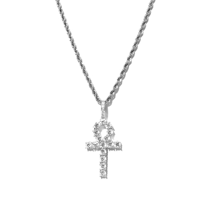 ICED OUT ANKH PENDANT WHITE GOLD MIT ROPE CHAIN - ICED DRIP JEWELRY - jetzt kaufen!