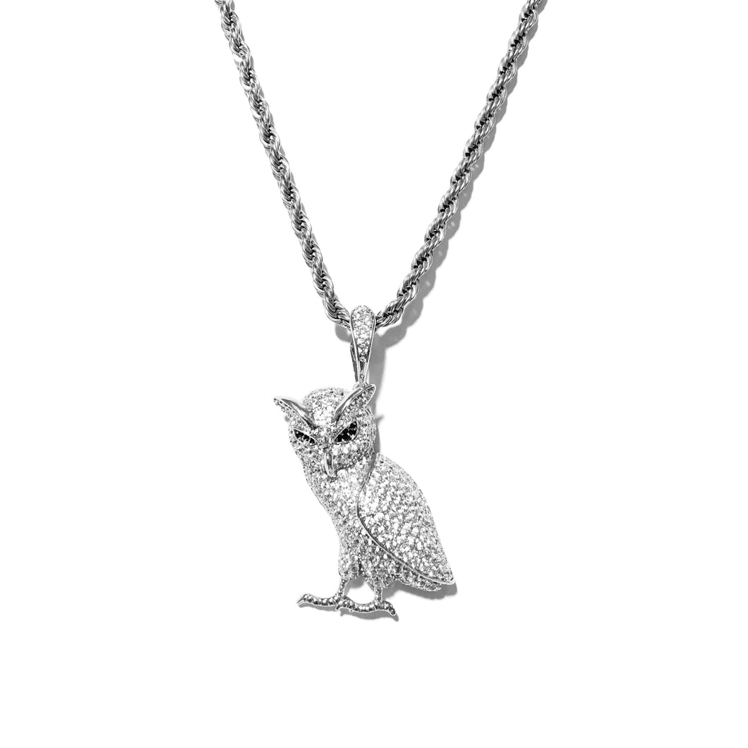 ICED OUT WISE OWL PENDANT WHITE GOLD MIT ROPE CHAIN - ICED DRIP JEWELRY - jetzt kaufen!