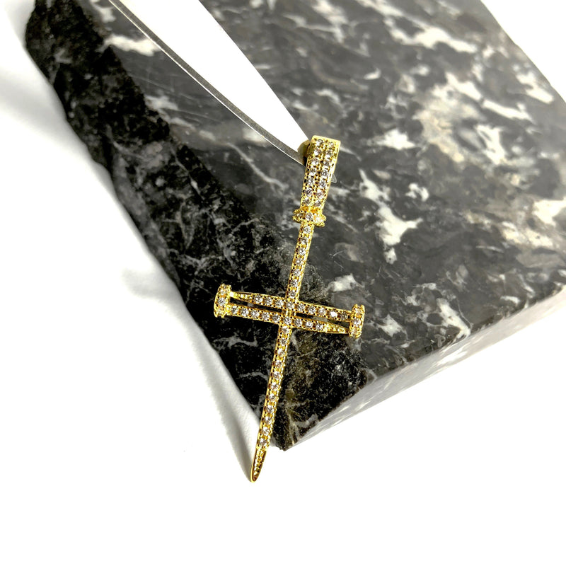 ICED DRIP NAIL CROSS [WHITE | YELLOW] GOLD - ICED DRIP JEWELRY