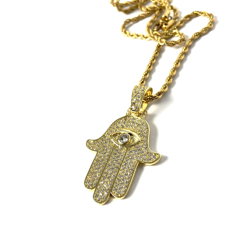 ICED DRIP HAMSA [WHITE | YELLOW] GOLD - ICED DRIP JEWELRY