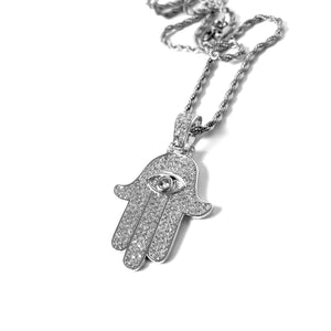 ICED OUT HAMSA WHITE GOLD MIT ROPE CHAIN - ICED DRIP JEWELRY - jetzt kaufen!