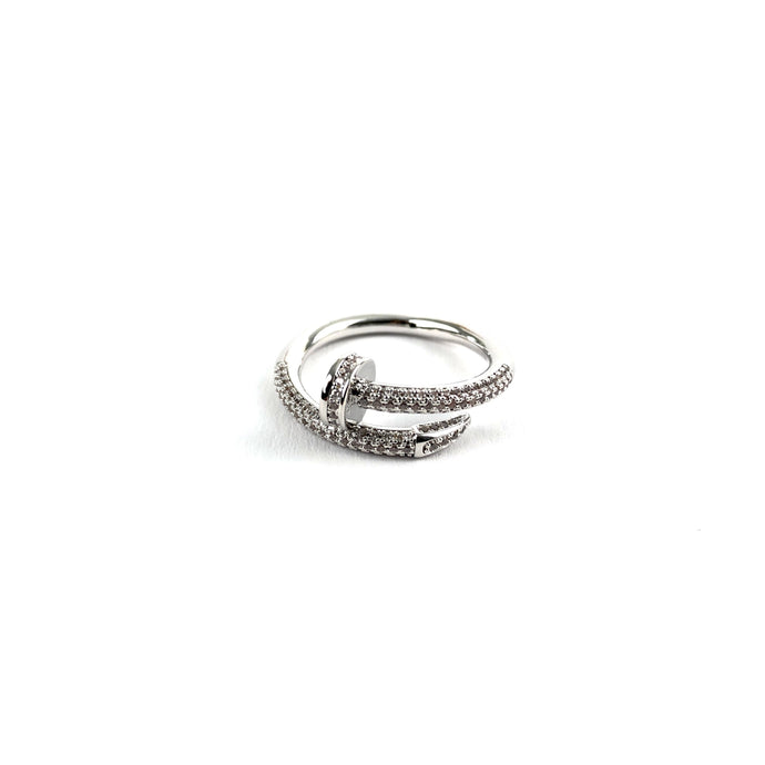 ICED OUT NAIL RING WHITE GOLD - ICED DRIP JEWELRY - jetzt kaufen!