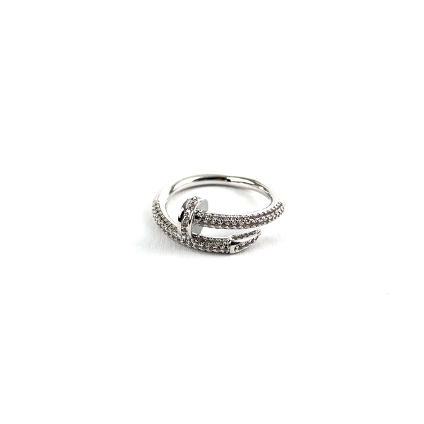 ICED DRIP NAIL RING [WHITE] GOLD - ICED DRIP JEWELRY