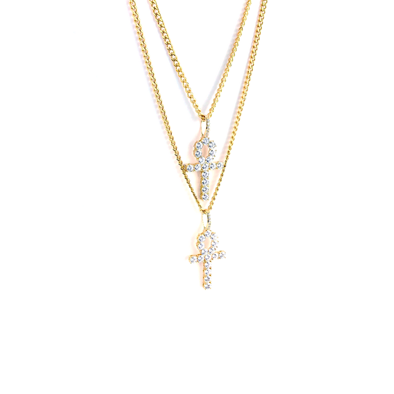 ICED DRIP ANKH [WHITE | YELLOW | ROSE'] GOLD - ICED DRIP JEWELRY