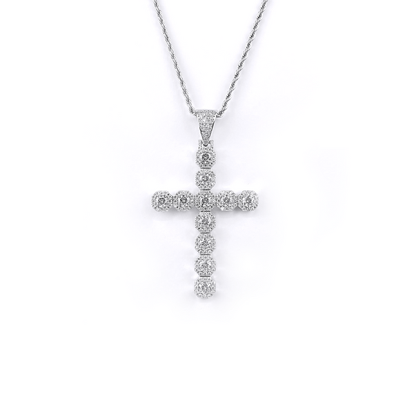 ICED DRIP BIG CLUSTER CROSS [WHITE] GOLD - ICED DRIP JEWELRY