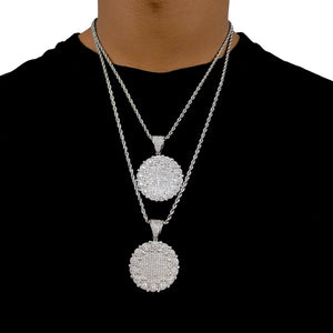 ICED OUT MEDAILLON WHITE GOLD MIT ROPE CHAIN - ICED DRIP JEWELRY - jetzt kaufen!