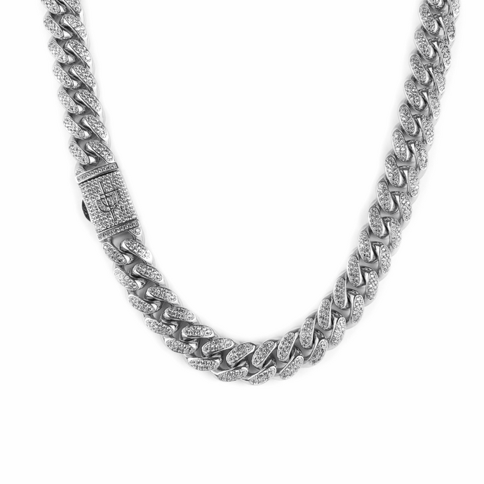 ICED DRIP 12MM MIAMI CUBAN LINK CHAIN WHITE GOLD - ICED DRIP JEWELRY