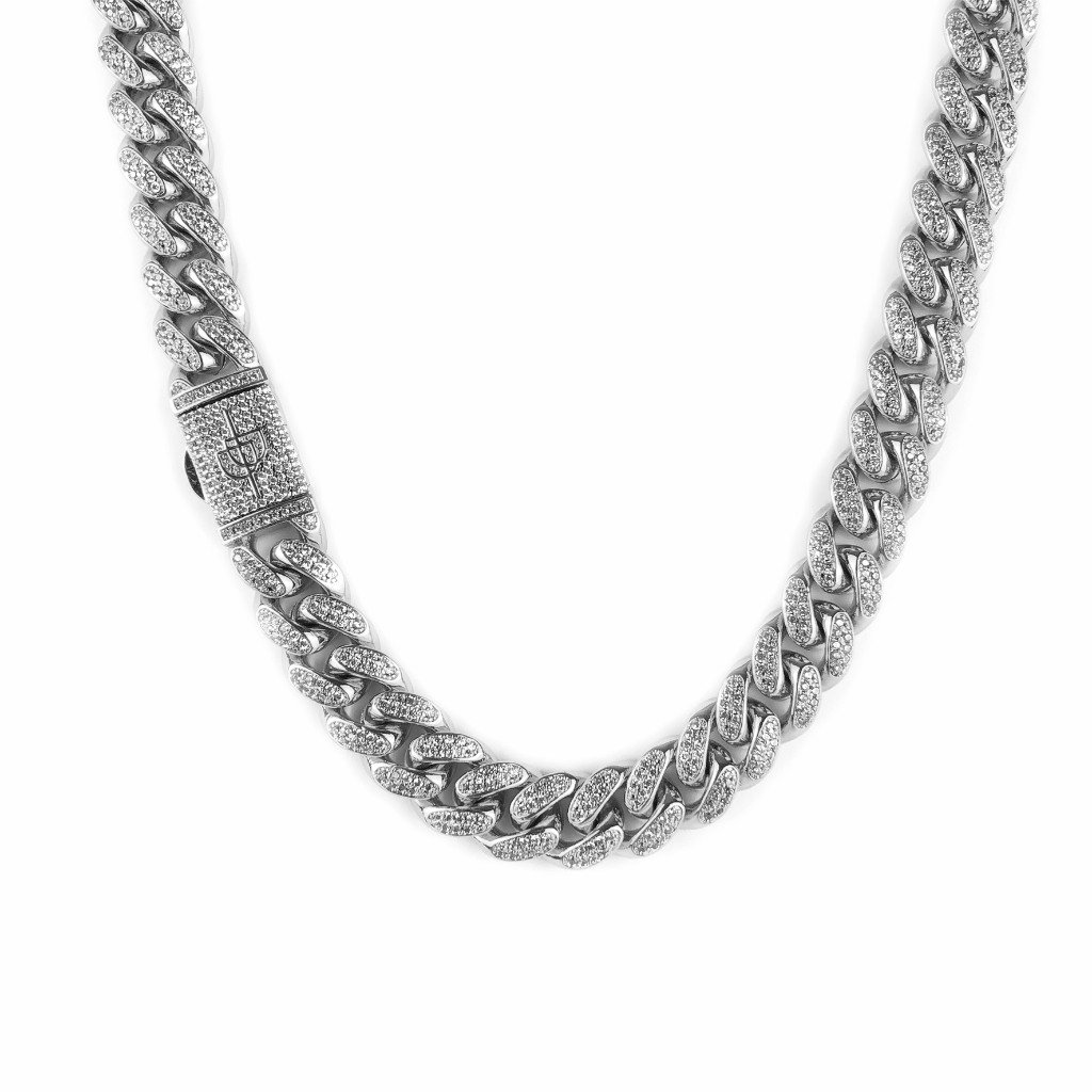 ICED OUT 12MM MIAMI CUBAN LINK CHAIN WHITE GOLD - ICED DRIP JEWELRY - jetzt kaufen!
