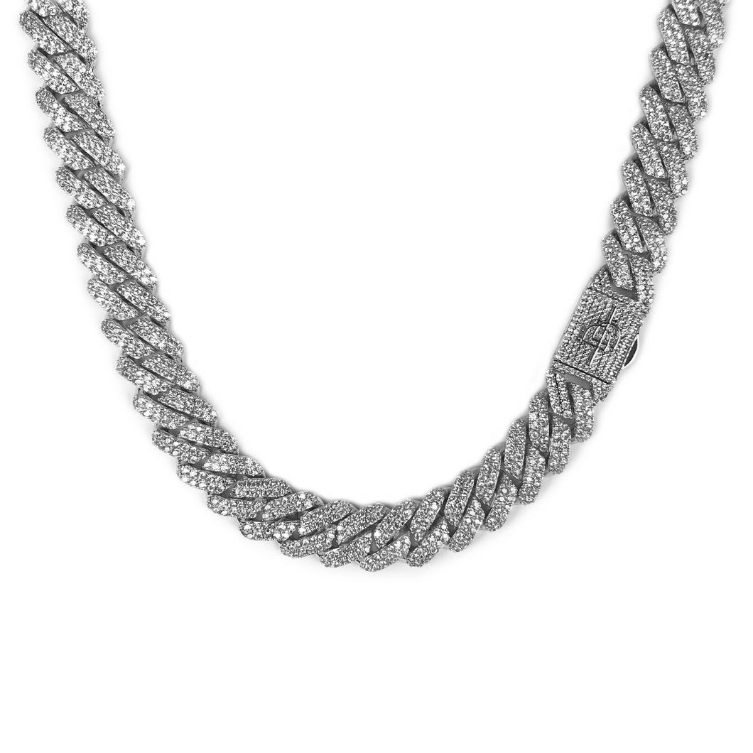 ICED OUT 12MM PRONG CUBAN LINK CHAIN WHITE GOLD - ICED DRIP JEWELRY - jetzt kaufen!