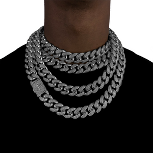 ICED OUT 20MM MIAMI CUBAN LINK CHAIN WHITE GOLD - ICED DRIP JEWELRY - jetzt kaufen!