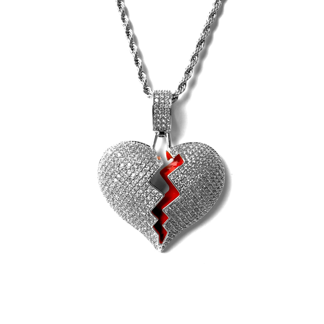 ICED OUT BROKEN HEART PENDANT WHITE GOLD MIT ROPE CHAIN - ICED DRIP JEWELRY - jetzt kaufen!