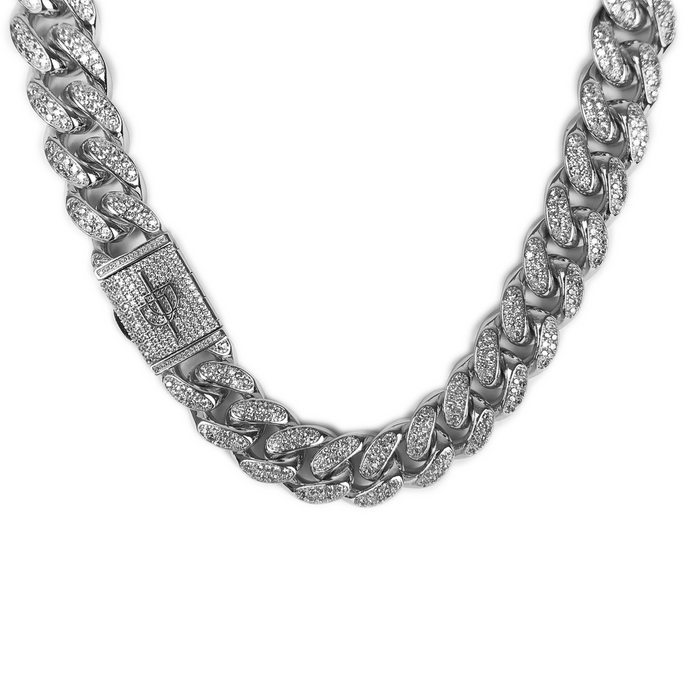 ICED DRIP 20MM MIAMI CUBAN LINK CHAIN WHITE GOLD - ICED DRIP JEWELRY