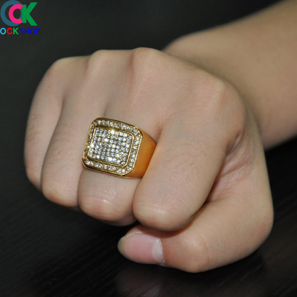 Iced Out Gold Ring CZ