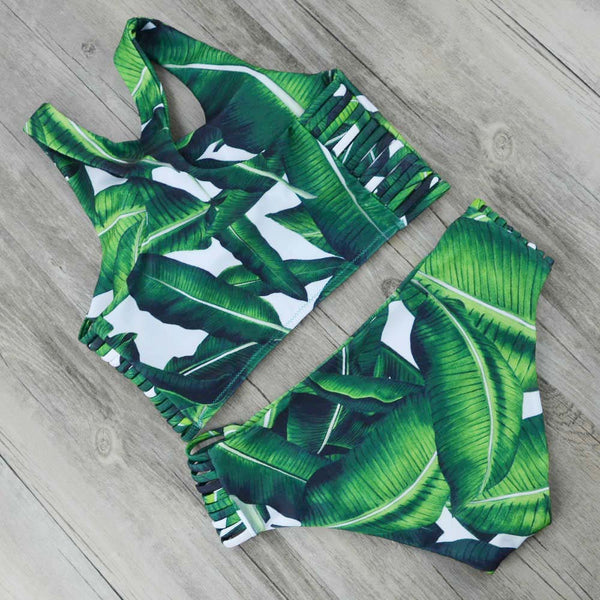 High Neck Bikini Women Leaf Print