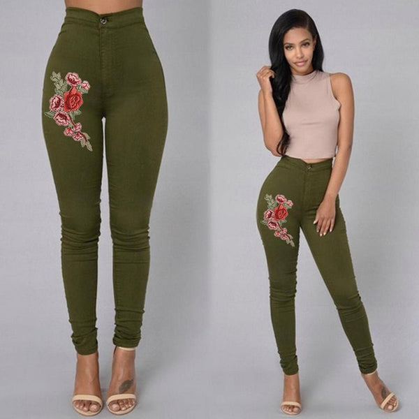 Super High Waist Denim Skinnies - Floral