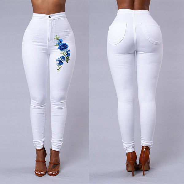 Super High Waist Denim Skinnies - Rose