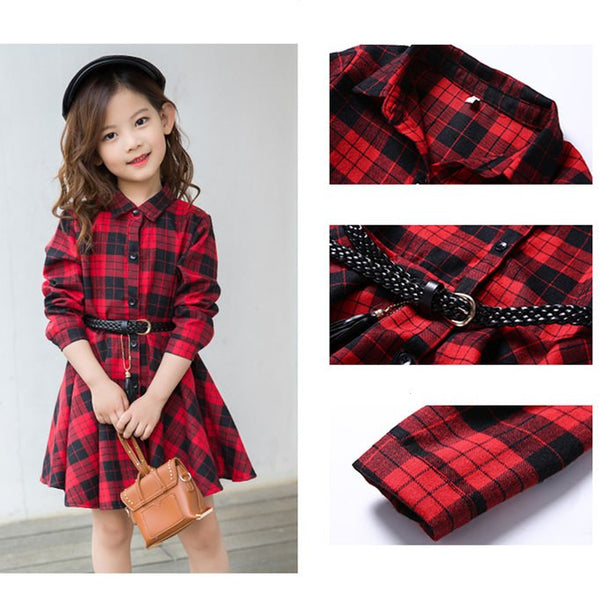Fashion Elegant Casual Long Sleeve Cotton Dresses from 4 to 13 Years old