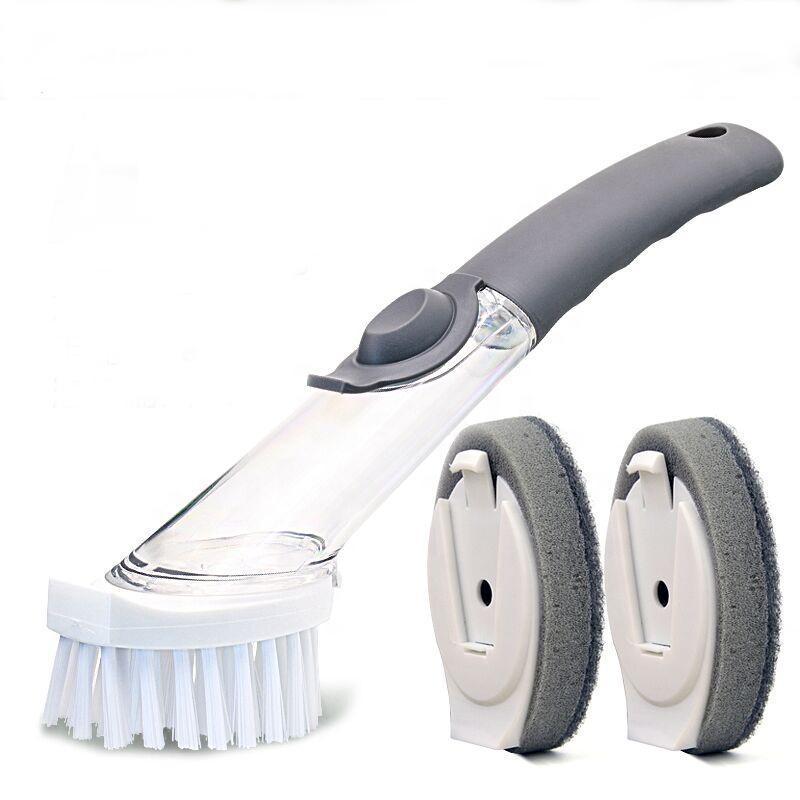 2 in1 Kitchen Cleaning Brush with 3 Removable Brushes Soap Dispensing Dish Brush Set