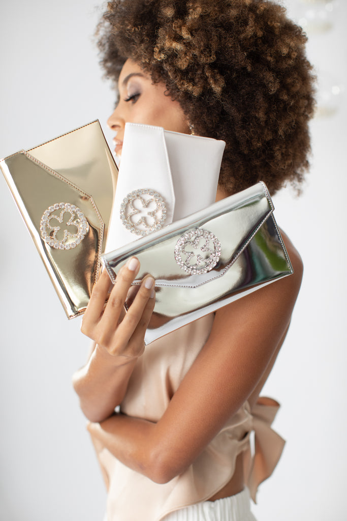 Mirror Finish Bridal Clutch,  Gold Clutch, Silver Clutch, Blush Clutch
