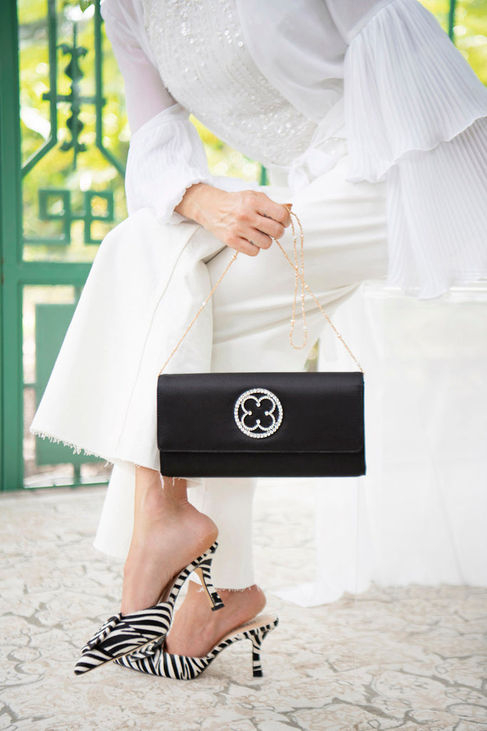 Little Black Clutch, Black Evening Bag, Satin Clutch,
