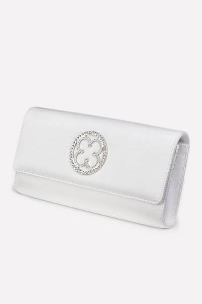 White Bridal Clutch - Side Shot
