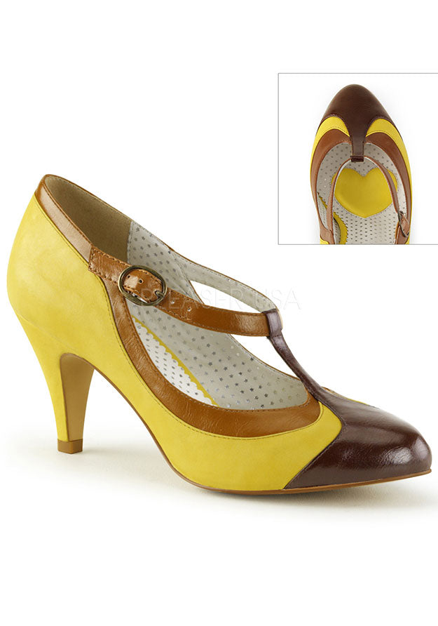 Yellow 1960s Inspired T-Strap Heels