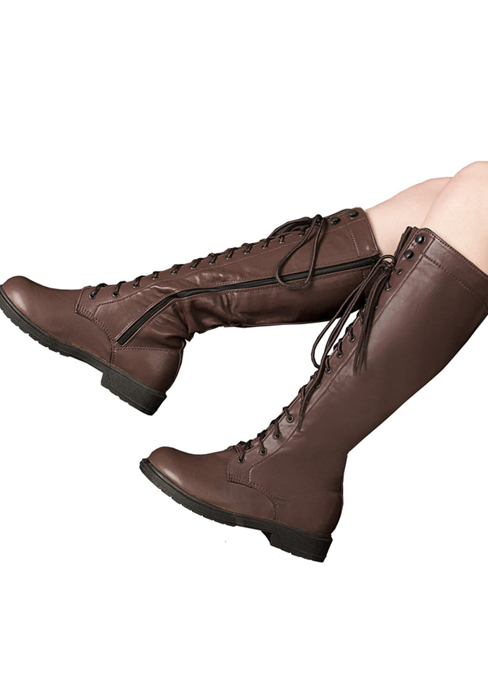 Brown Steam Lace-Up Combat Boots
