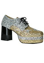 Load image into Gallery viewer, 1960s Gold Glitter Disco Shoes