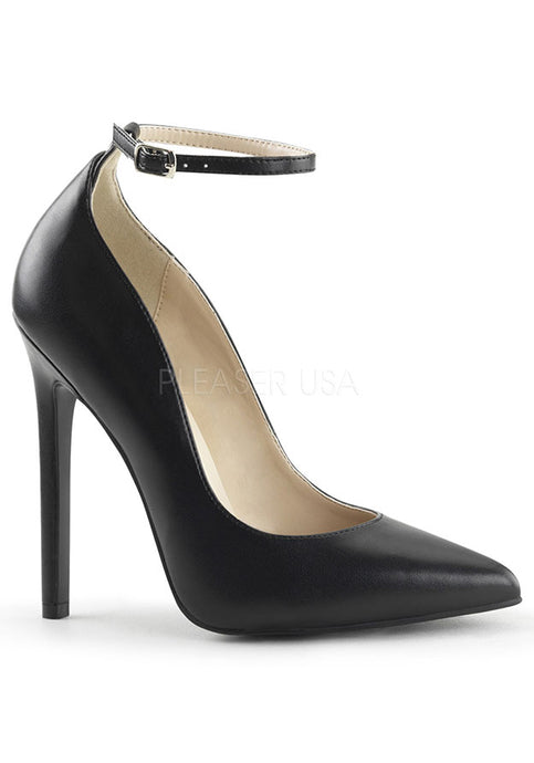 Black Vegan Leather Ankle Strap Heels