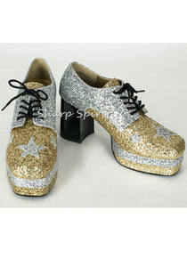 1960s Gold Glitter Disco Shoes