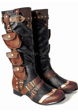 Load image into Gallery viewer, 3 Pocket Western Steampunk Mens Boots