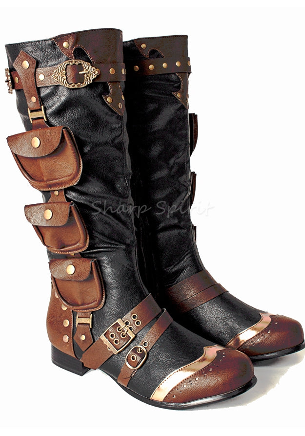 3 Pocket Western Steampunk Mens Boots