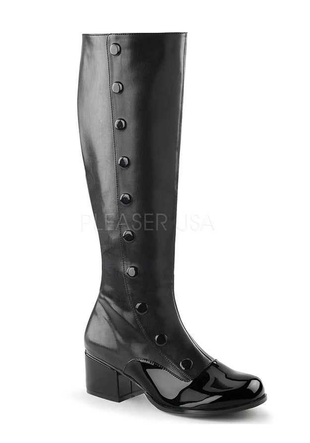 Black Pat Button Knee Boots