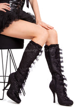 Load image into Gallery viewer, 4 Inch Heel Knee High Satin Boots w Bows