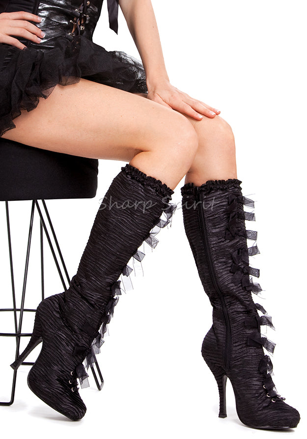 4 Inch Heel Knee High Satin Boots w Bows